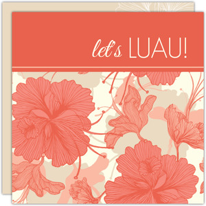 Coral Floral Hawaiian Luau Invitation