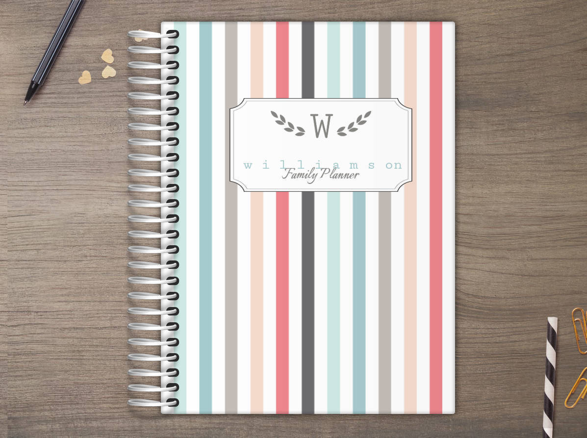 colorful pinstripe custom daily family planner daily planners