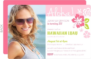 Pink Hawaiian Luau Birthday Invitation