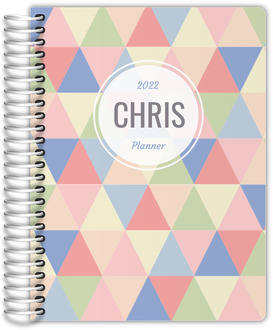 Pastel Geometric Triangles Custom Daily Family Planner
