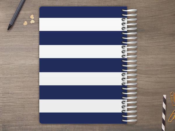 Pineapple Navy Stripe Custom Daily Planner Daily Planners - Custom daily planner