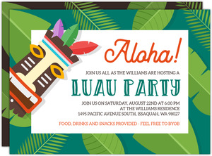 Tropical Tiki Luau Party Invitation