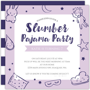 Stuffed Animal Slumber Party Birthday Invitation