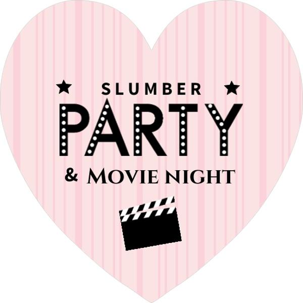 pink and black slumber movie night invite