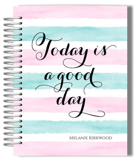 Watercolor Stripes Good Day Monthly Planner