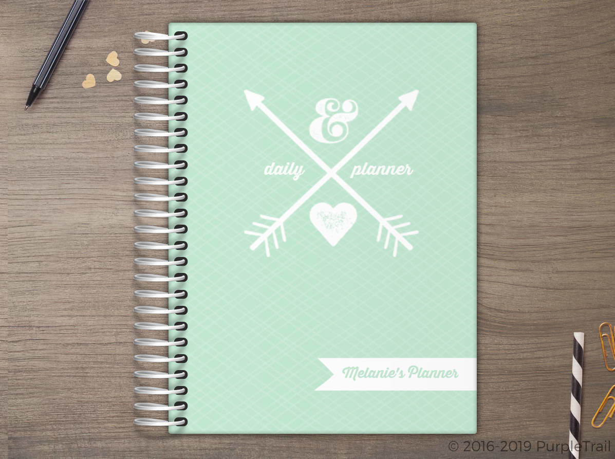 rustic white arrows cool mint custom daily planner daily planners