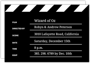 Black and White Clapper Board Movie Night Invitations