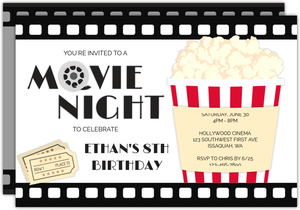 Big Popcorn Cup Movie Night Invitation