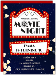 Starry Backyard Movie Night Invitation