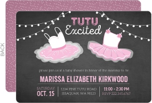 Chalkboard TuTu Excited Baby Shower Invitation