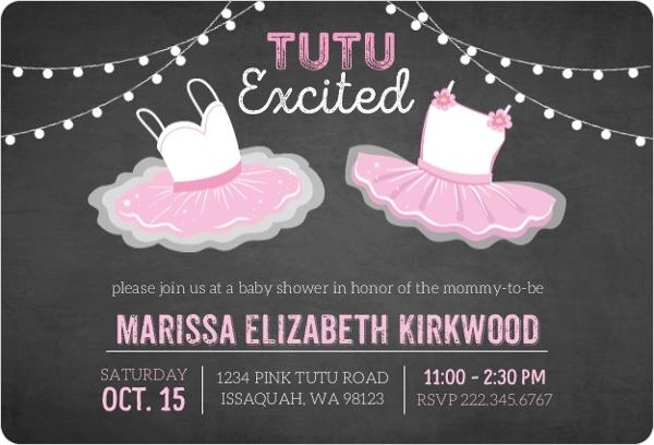 Chalkboard TuTu Excited Baby Shower Invitation Ballerina Baby