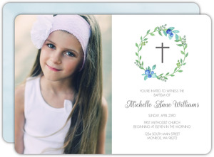 Watercolor Wreath Photo Baptism Invitation
