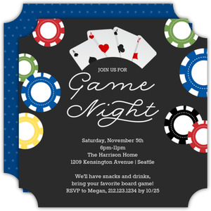 Colorful Chips Casino Party Invitation