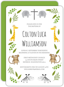 Wild Jungle Animals Baptism Invitation