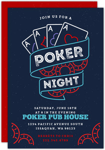 Blue Poker Game Night Party Invitation