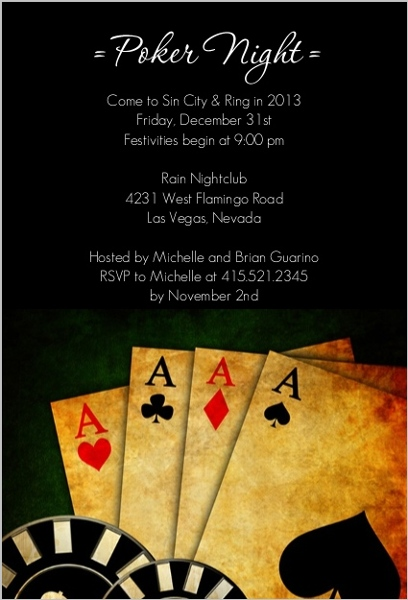 Poker Night In Vegas Casino Party Invitation Poker Party Invitations