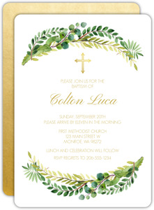 Green Watercolor and Faux Gold Baptism Invitation
