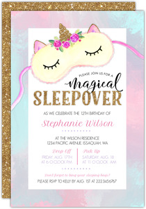 Cute Watercolor Unicorn Mask Slumber Party Invitation