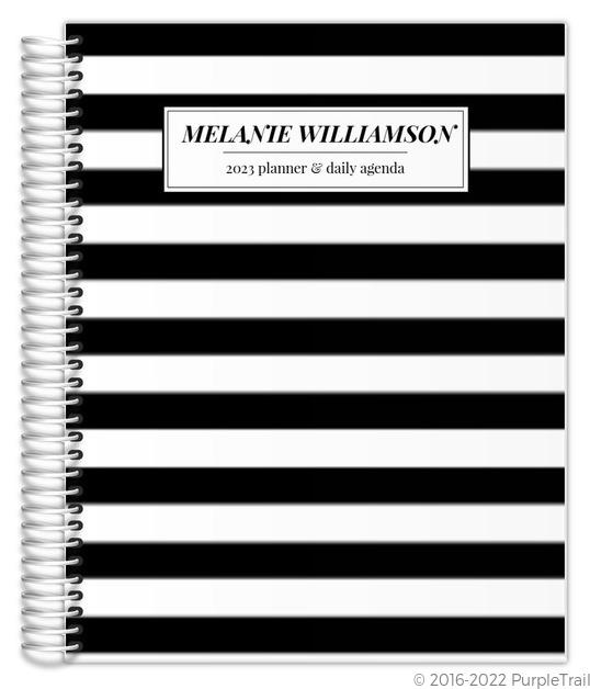 Beautiful Modern Black White Stripes Custom Daily Planner Daily - Custom daily planner