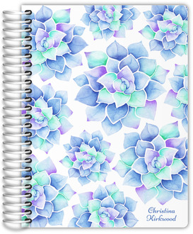 Blue Watercolor Succulent Daily Planner