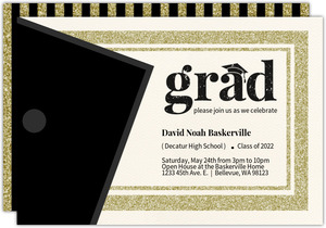 Modern Faux Glitter Graduation Invitation Card