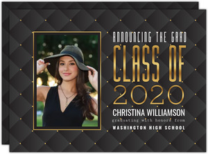 Brown Linen Graduation Invitation