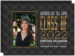 Elegant Pattern Class of Graduation Photo Announcement