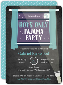 Boys Only Pajama Slumber Party Birthday Invitation