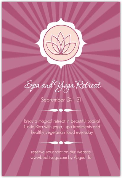 Pink lotus flower yoga retreat invitations spa party invitations pink lotus flower yoga retreat invitations mightylinksfo