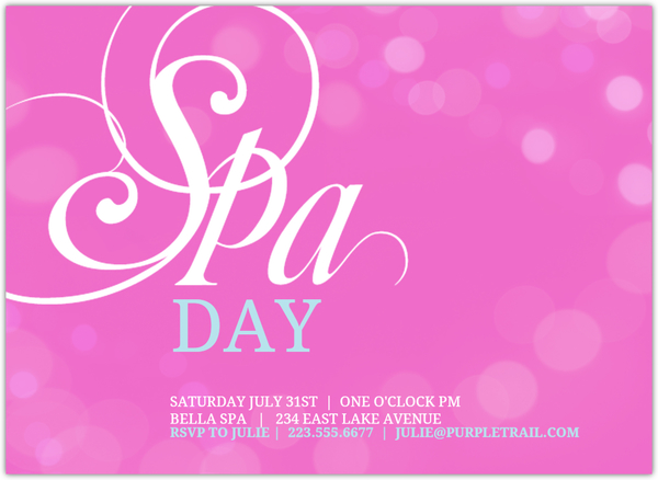Pink bubbles spa day invitation spa party invitations for 3 day spa