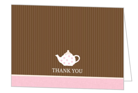 Brown Stripes Tea Cups Thank You Card Personalized Thank You Cards