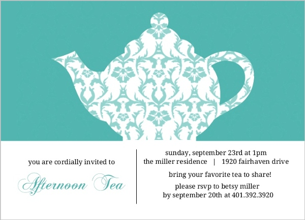 Turquoise Damask Tea Party Invitation