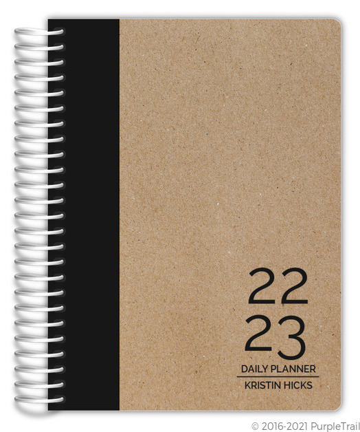 Traditional Black and Kraft Custom Daily Planner