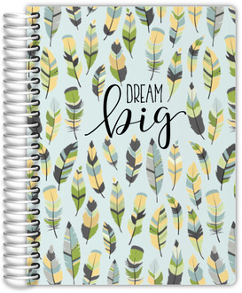 Green Feather Pattern Custom Daily Family Planner