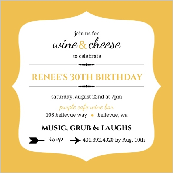 Yellow And White Frame Wine Party Invitation | Wine Party Invitations