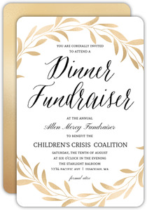 Faux Gold Foliage Dinner Charity Fundraiser Invitation