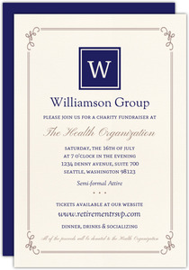 Simple Monogram Charity Fundraiser Invitation