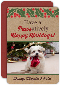 Pawsatively Happy Holidays Pet Photo Holiday Card