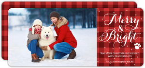 Red Plaid Merry And Bright Pet Holiday Card