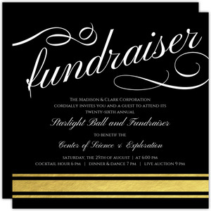 Black Elegant Charity Fundraiser Invitation