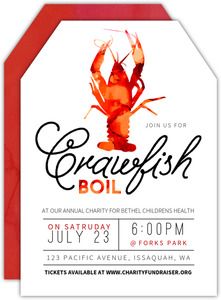 Watercolor Crawfish Boil Charity Invitation