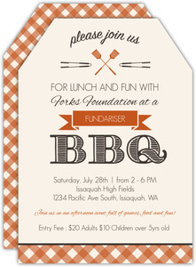 Country Checker BBQ Fundraiser Party Invitation