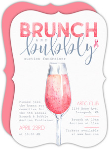 Pink Watercolor Bubbly Brunch Charity Fundraiser Invitation