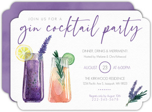 Lavender Watercolor Cocktail Party Invitation