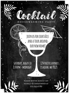 Chalkboard Cocktail Housewarming Party Invitation