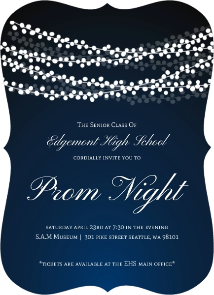 sparkling string lights prom invitation