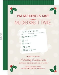 Making A List Holiday Cocktail Party Invitation