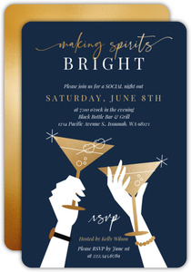 Bright Spirits Faux Gold Cocktail Invitation