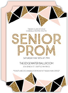 Geometric Glitter Senior Prom Invitation