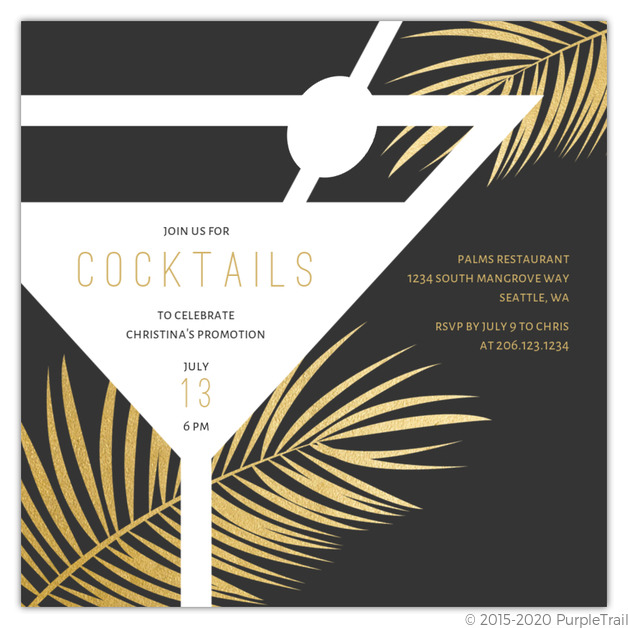 Cocktail Silhouette Party Invitation Cocktail Party Invitations
